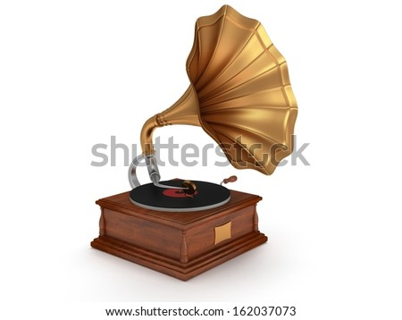 3d old vintage gramophone isolated on white background. Retro music hipster concept
