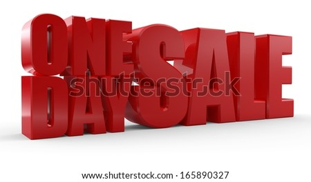 3D One Day Sale text on white background. One day sale signs.
