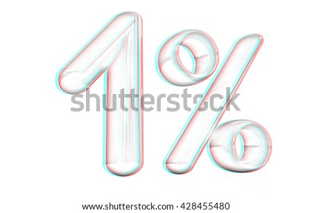 "3d ""1"" - one percent on a white background. Pencil drawing. 3D illustration. Anaglyph. View with red/cyan glasses to see in 3D. - stock photo"