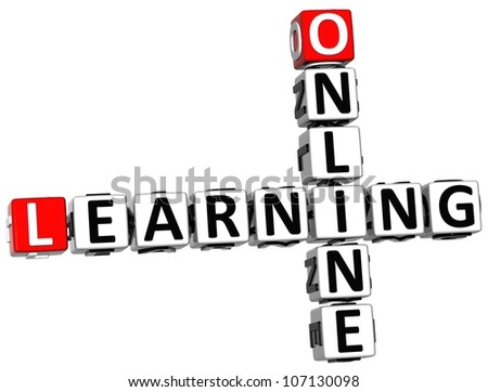 3D Online Learning Crossword on white background - stock photo