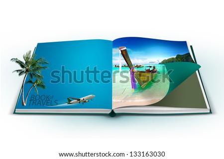 3D open book with thailand bangkok travel concept - stock photo