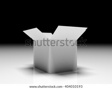 3d Open box with reflection on gradient background