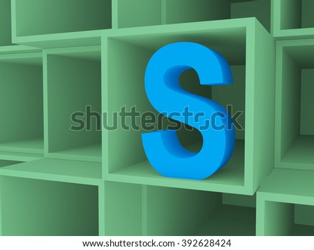 3d Open boxes on stack with letter S, background