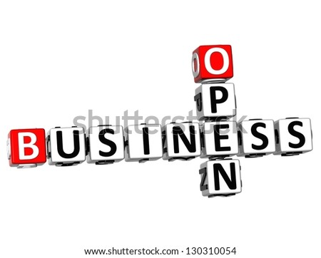 3D Open Business Crossword on white background - stock photo