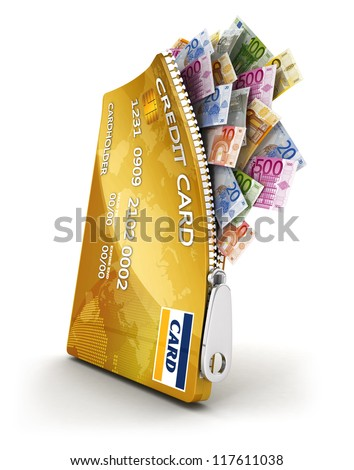 3d open credit card with a lot of euro bills, isolated white background, 3d image - stock photo