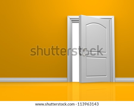 3d open door in the orange wall. 3d render
