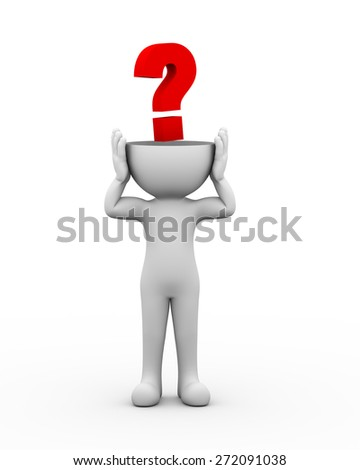 3d open head man with question mark brainstorming and searching for new ideas. 3d white people man character - stock photo
