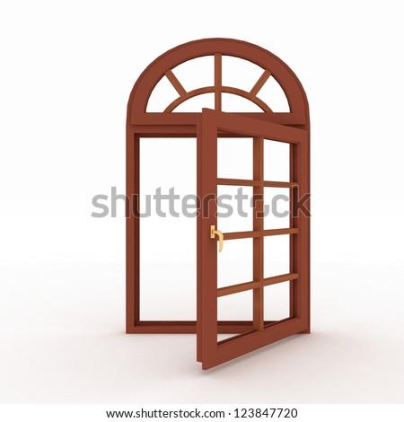 3d open plastic window on white background - stock photo