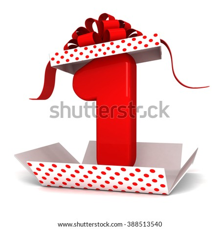 3d Open surprise gift box inside number 1 one rendering with red ribbon and polka dots party red numbers - stock photo