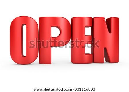 3D OPEN word on white background 3d rendering