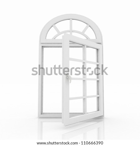 3d opened plastic window on white background - stock photo