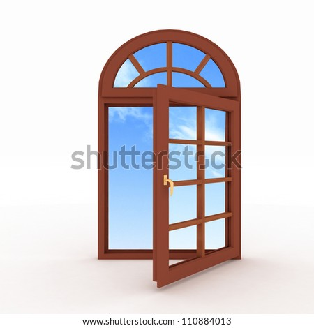 3d opened plastic window on white background
