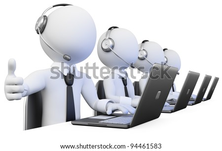 3D Operators working in a call center. Rendered at high resolution on a white background with diffuse shadows.