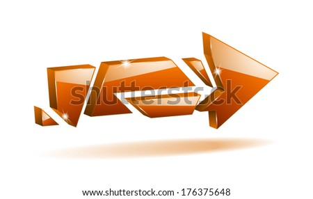 3D orange broken arrow pointer with reflection (raster version, available as vector too) - stock photo