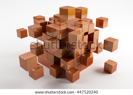 3d orange cubes scatter in different directions. Abstract reflected objects