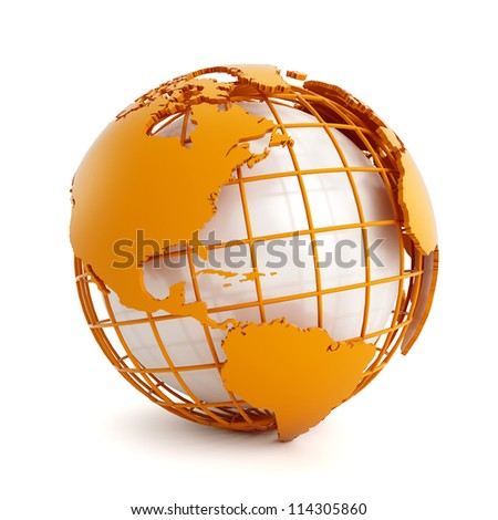 3d orange globe isolated on white background - stock photo