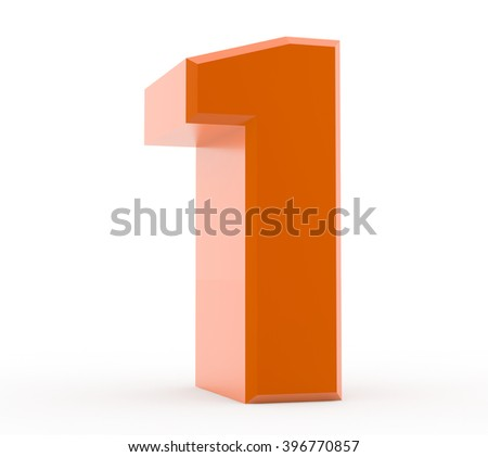 3d orange number 1 collection on white background