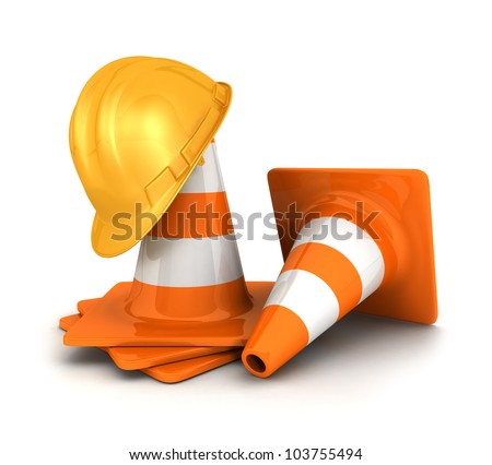 3d orange traffic cones and a yellow safety helmet, isolated white background, 3d image - stock photo