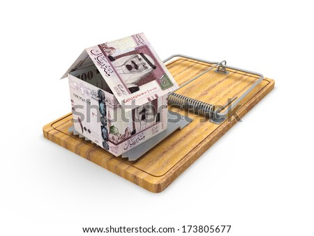 3d origami house made with saudi money placed on mousetrap isolated in white background