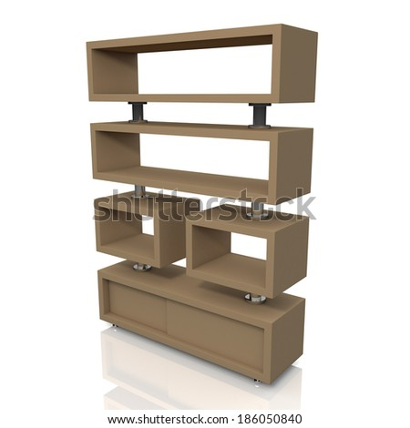 3d original brown and aluminum column store shelves and new design for products showing in convenience store isolated background with work paths, clipping paths included  - stock photo