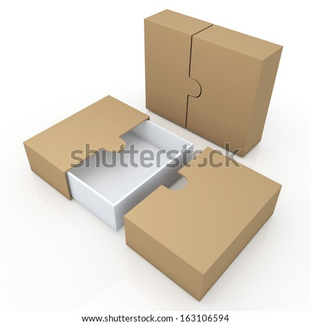 3d original brown &  clean white container for garments products, leather, clothes, or accessories blank template and wedge option in isolated background with work paths, clipping paths included  - stock photo