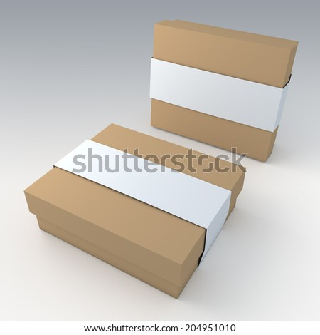3D original brown garment or leather products packaging and white jacket label ring in isolated with work paths, clipping paths included - stock photo