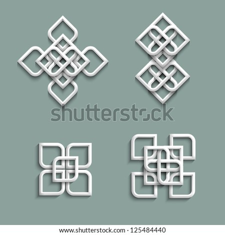 3d ornaments in arabic style. Raster version - stock photo