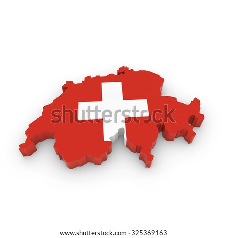 3D Outline of Switzerland textured with the Swiss Flag