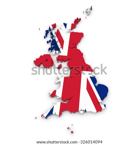 3D Outline of the United Kingdom and Channel Islands textured with the Union Jack Flag - stock photo