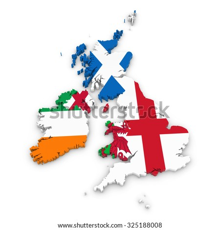3D Outline of the United Kingdom and Ireland textured with National Flags - stock photo