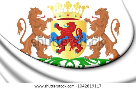 3D Overijssel Coat of Arms, Netherlands. 3D Illustration.
