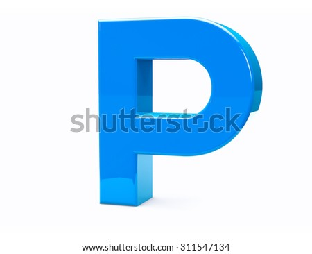 3D P Isolated Letter Render. Metal Type Character.