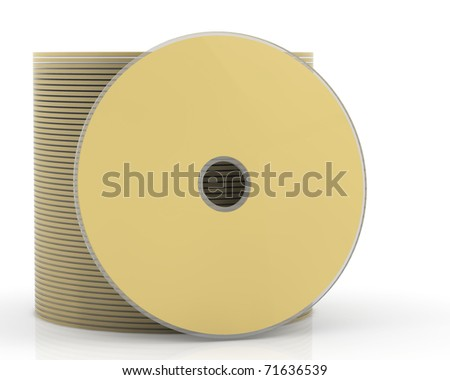 3d pack of gold dvd or cd disk - stock photo