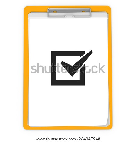 3d pad holder with check box on white background - stock photo