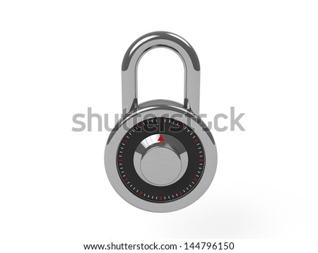 3d padlock isolated on white background