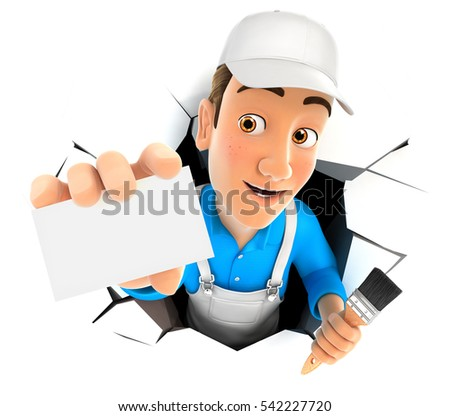 3d painter coming out through a wall with company card, illustration with isolated white background