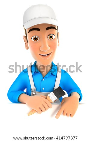 3d painter pointing to empty wall, illustration with isolated white background