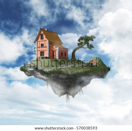 Floating island in the sky painting