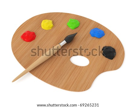 3d palette with brush isolated on white background - stock photo