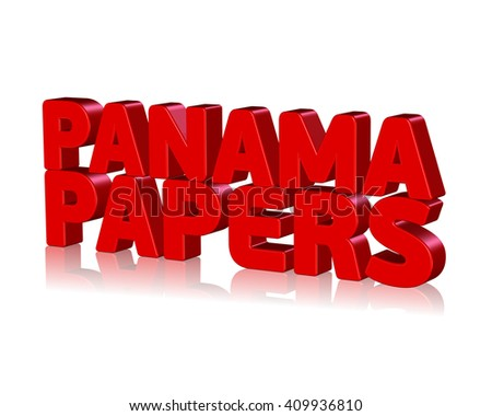3D Panama Papers text on white background