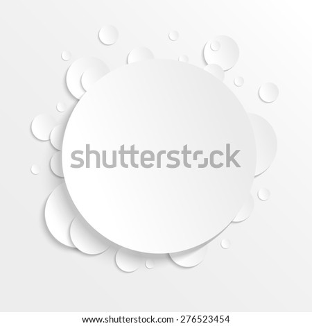3D paper background with circles with place for text. Simple and cute raster version illustration. Background template. - stock photo