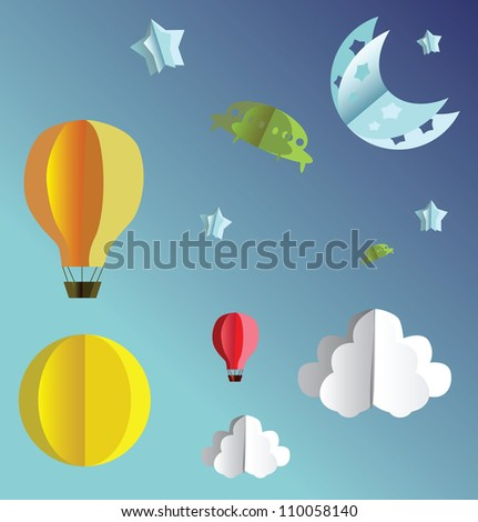 3d paper flying objects - balloons, UFO, clouds, sun, moon and stars - stock photo