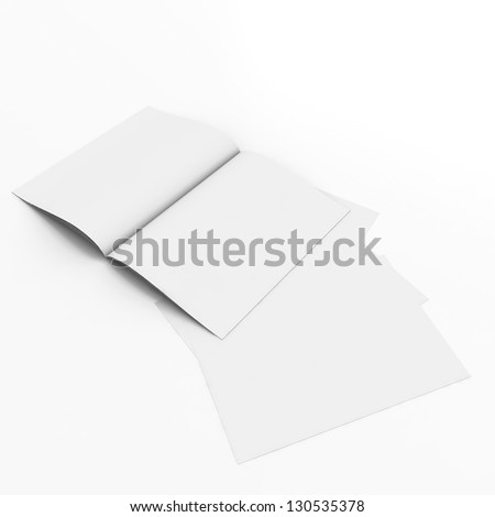 3D paper sheet open book with blank pages - stock photo
