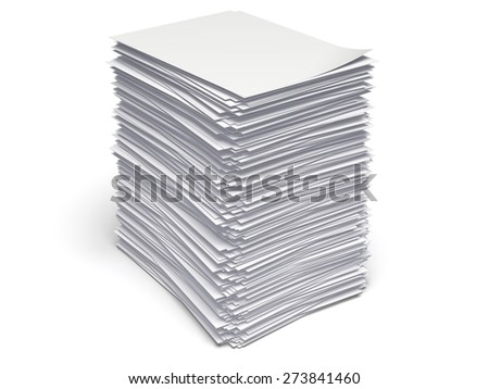 3D. Paper, Stack, Heap. - stock photo