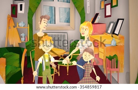3d Parents Sitting With 3d Children Reading Story Indoors