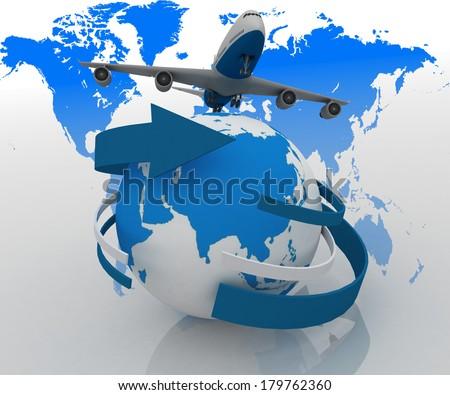 3d passenger jet airplane travels around the world - stock photo