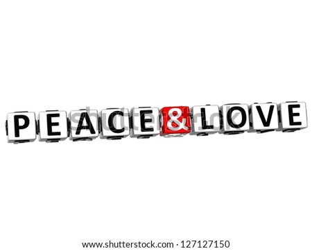 3D Peace and Love Crossword Block text on white background - stock photo