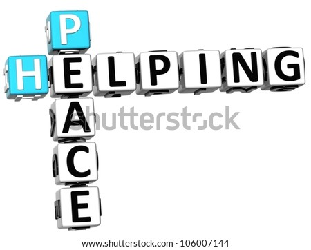 3D Peace Helping Crossword on white background