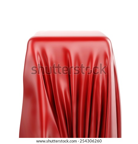 3d pedestal and red fabric on white background - stock photo