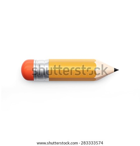 3d pencil illustration with shadow, isolated on white
